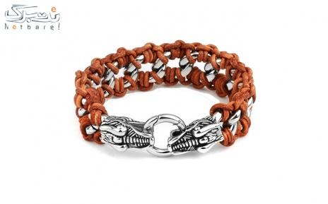 پکیج 2: دستبند مردانه چرم استیل مدل3SCB-1613