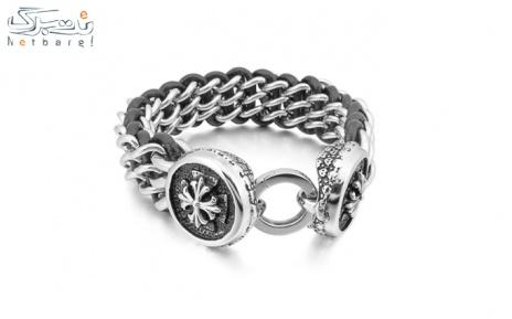 پکیج 6: دستبند مردانه چرم استیل مدل 3SCB-1710
