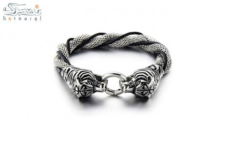 پکیج 8: دستبند مردانه چرم استیل مدل 3SCB-1734