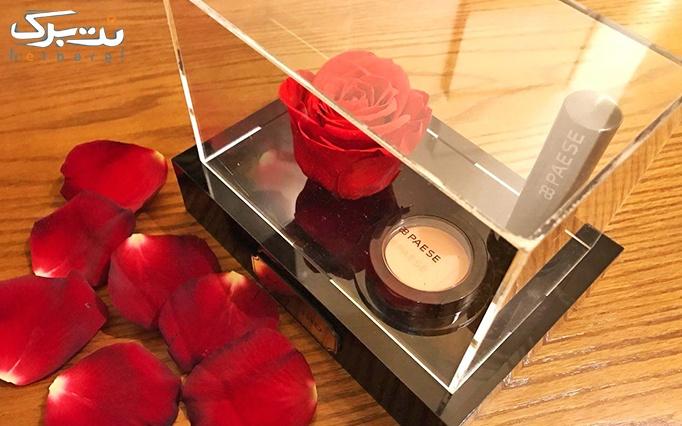 پکیج گل رز جاودان به همراه رژ قرمز گالری گل رزشید