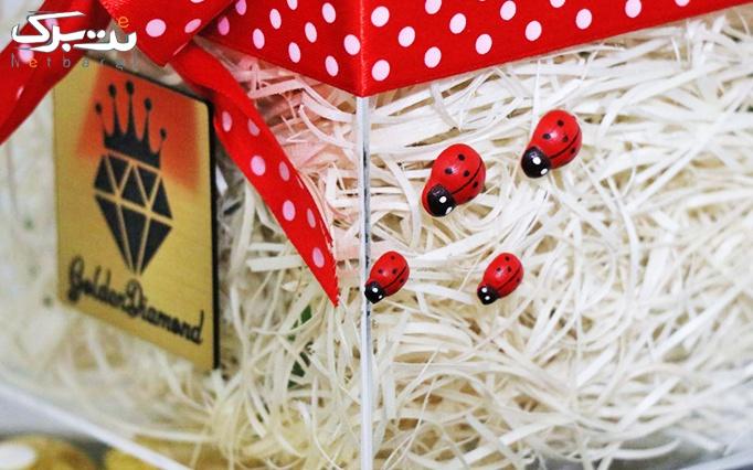 باکس رز+شکلات مدل ingot شمش از فروشگاه الماس طلایی