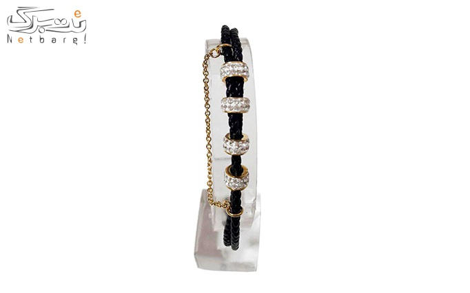 دستبند چرمی طرح حلقه نگینی کد 180001