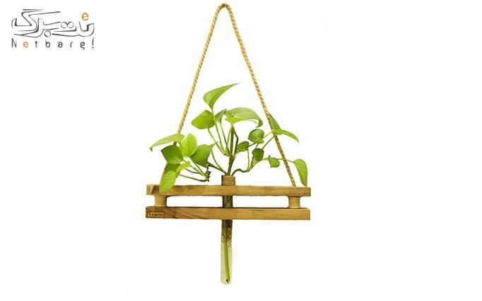گلدان آویز تزئینی مدل چوب گردو و چوب روس
