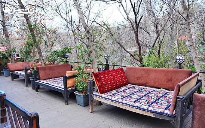 منو غذایی و چای سنتی در باغچه رستوران سنتی کنعان
