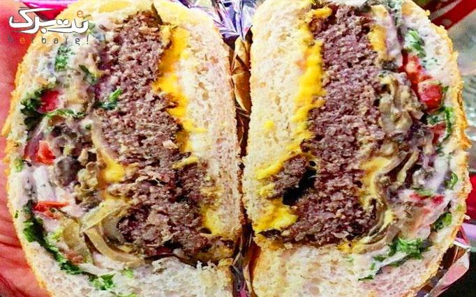منو باز غذایی متنوع در رستوران بمب