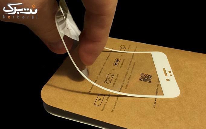 گلس تمام صفحه آیفون همراه با برچسب پشت گوشی از موبایل پایتخت
