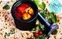 منو باز غذای ایرانی در باغچه رستوران گل یخ