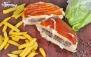 فست فود گوشه با منوی باز برگر و ساندویچ