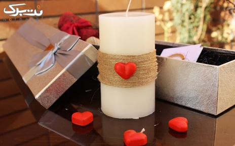 پکیج4: شمع سفید با طرح کنف و قلب از شرکت آسا تجارت