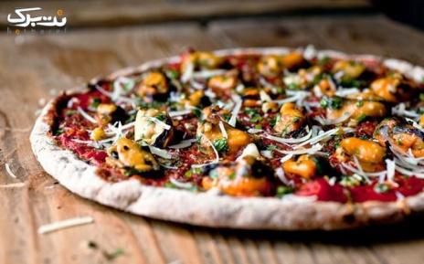 پیتزا سوپریم مخلوط یا پیتزای سوسیس و قارچ در مکروم