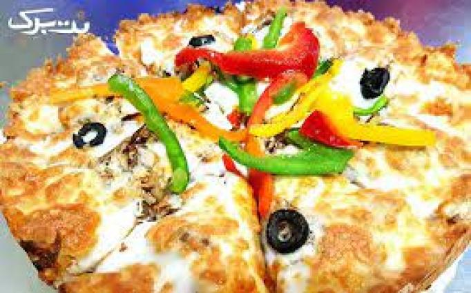پیتزا مرغ و قارچ خوشمزه در کافی شاپ کاپیتان